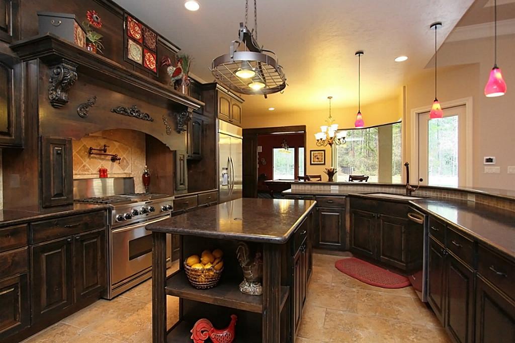 Pot Rack With Lights Dark Wooden Kitchen Cabinet Set