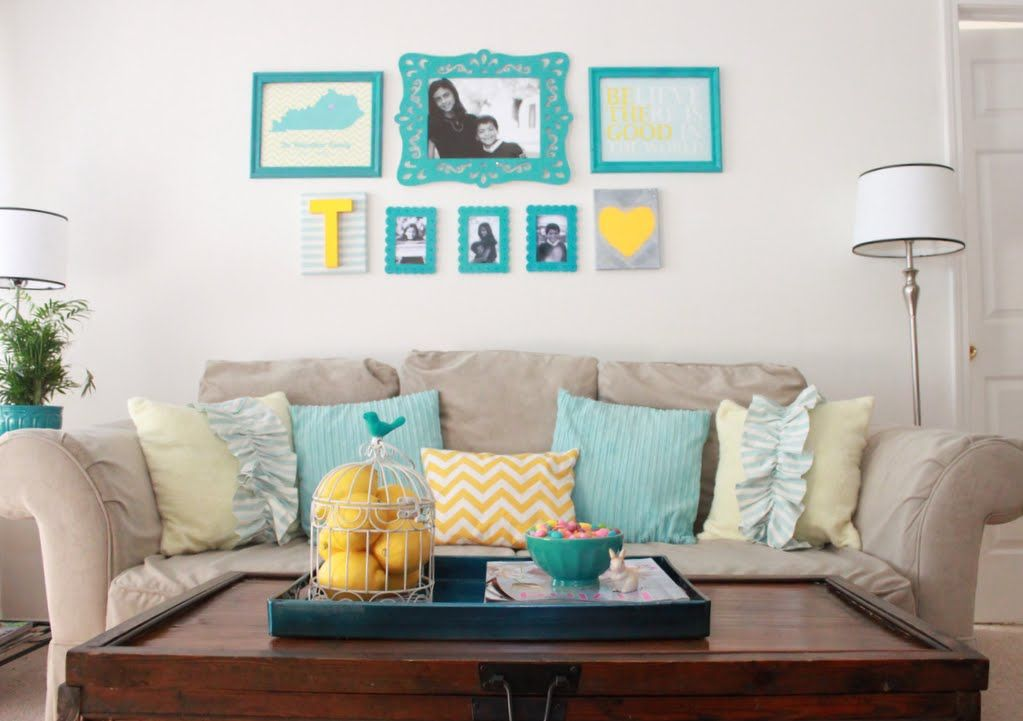 Pretty Teal Living Room Decor With Stylish Pilloes And Wooden Rectangular  Table