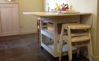 Pretty White Wooden Drop Leaf Table With Chair Storage