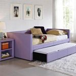 Purple Design For Extra Long Twin Daybed With Side Table And White Fur Rug