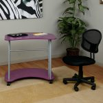 Purple kolor computer desk with casters a black office chair with casters