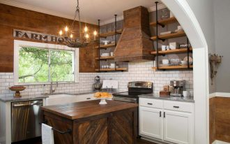 Rustic Kitchen Makeovers On A Budget With Wooden Kitchen Design And White Tile Backsplash