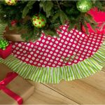 Red And White Polcadot With Green White Stripped Of Personalized Tree Skirts Under Christmas Tree And Gifts
