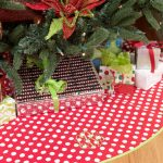 Red White Polcadot Design Of Personalized Tree Skirts Under Christmas Tree