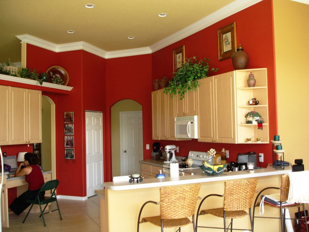 Red Paint For Kitchen Wall With White Baseboard White Kitchen Countertop Cream Schemed Kitchen Cabinets White