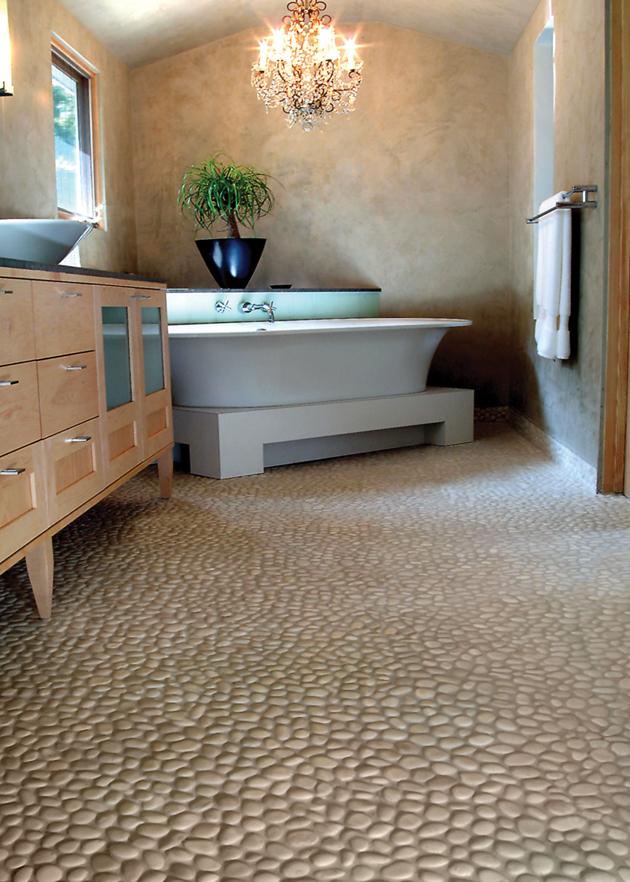 River rock bathroom tile