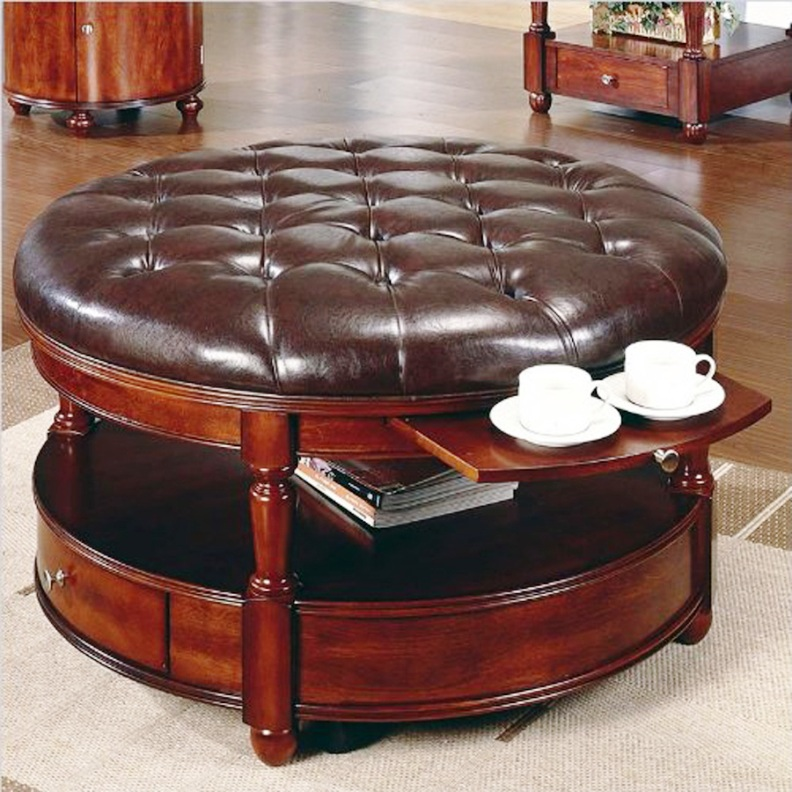 Antique Round Leather Top Coffee Table: Unique And Creative! Tufted Leather Ottoman Coffee Table