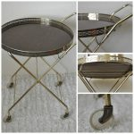 Round bar cart with X metal base and casters