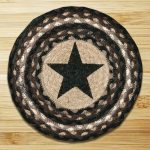 Round jute country chair pad with star motif as center decoration