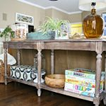 Rustic Style Of Extra Long Sofa Table With Racks For Table Lamp Books And Accessories