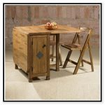 Rustic Wooden Drop Leaf Table With Chair Storage