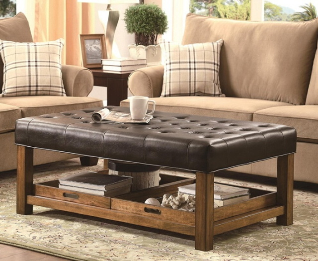 %name Leather Coffee Table With Storage And Trays