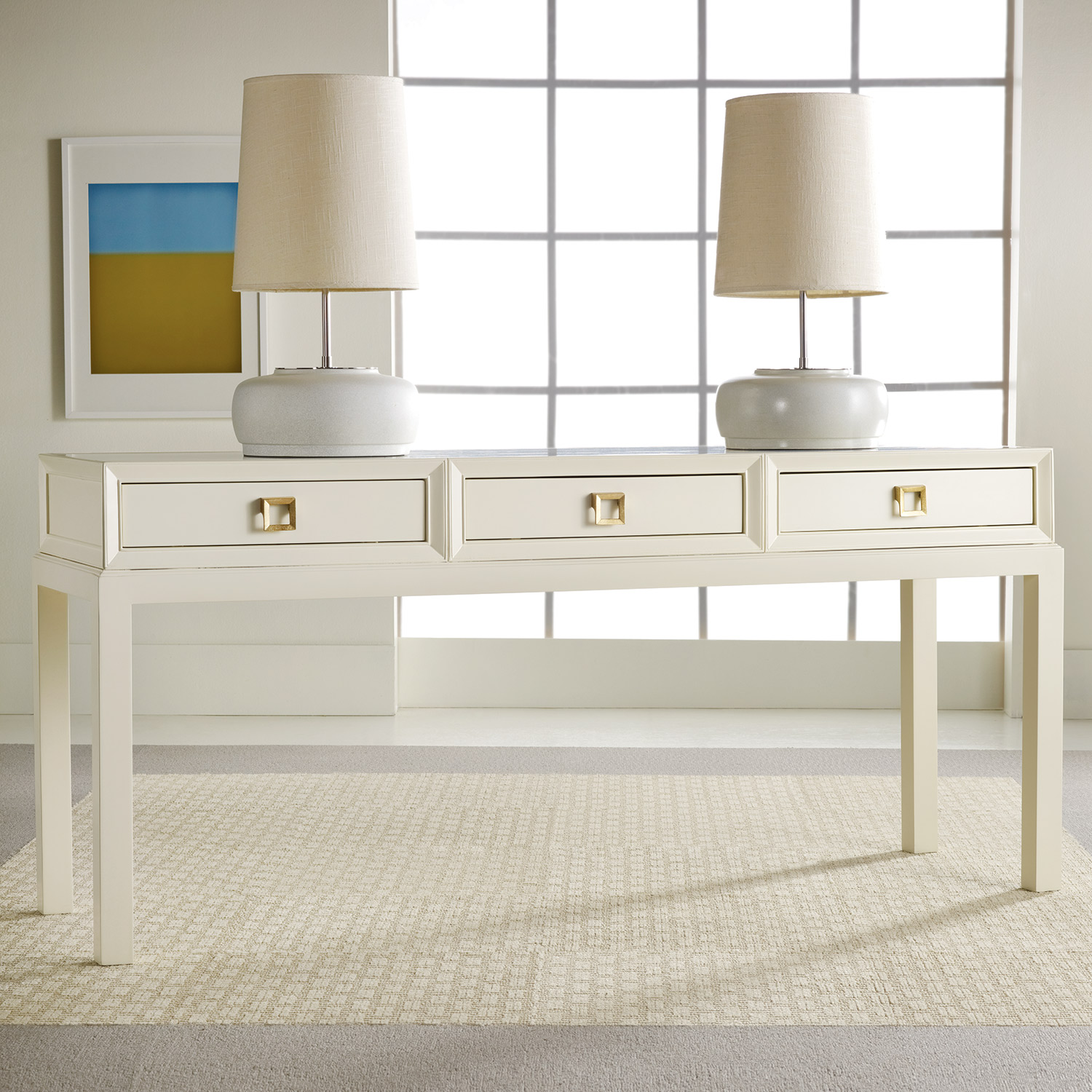 White lacquer console table product selections homesfeed for Modern white lacquer console table