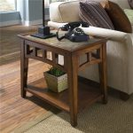 Side Slate End Tables For Telephone And Table Lamp Near White Sofa
