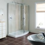 Simple Corner Shower Units With White Tiles And Glass Door For Shower