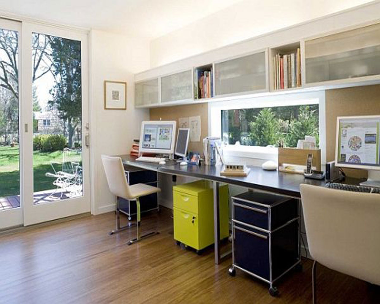 at home office ideas. Simple Double Desks Of Home Office Ideas With Shelves And Hardwood Floor At