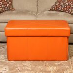 Simple Ottoman table with under storage in orange