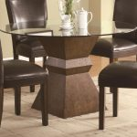 Simple Round Pedestal Table Base For Glass Top With Brown Leather Chairs