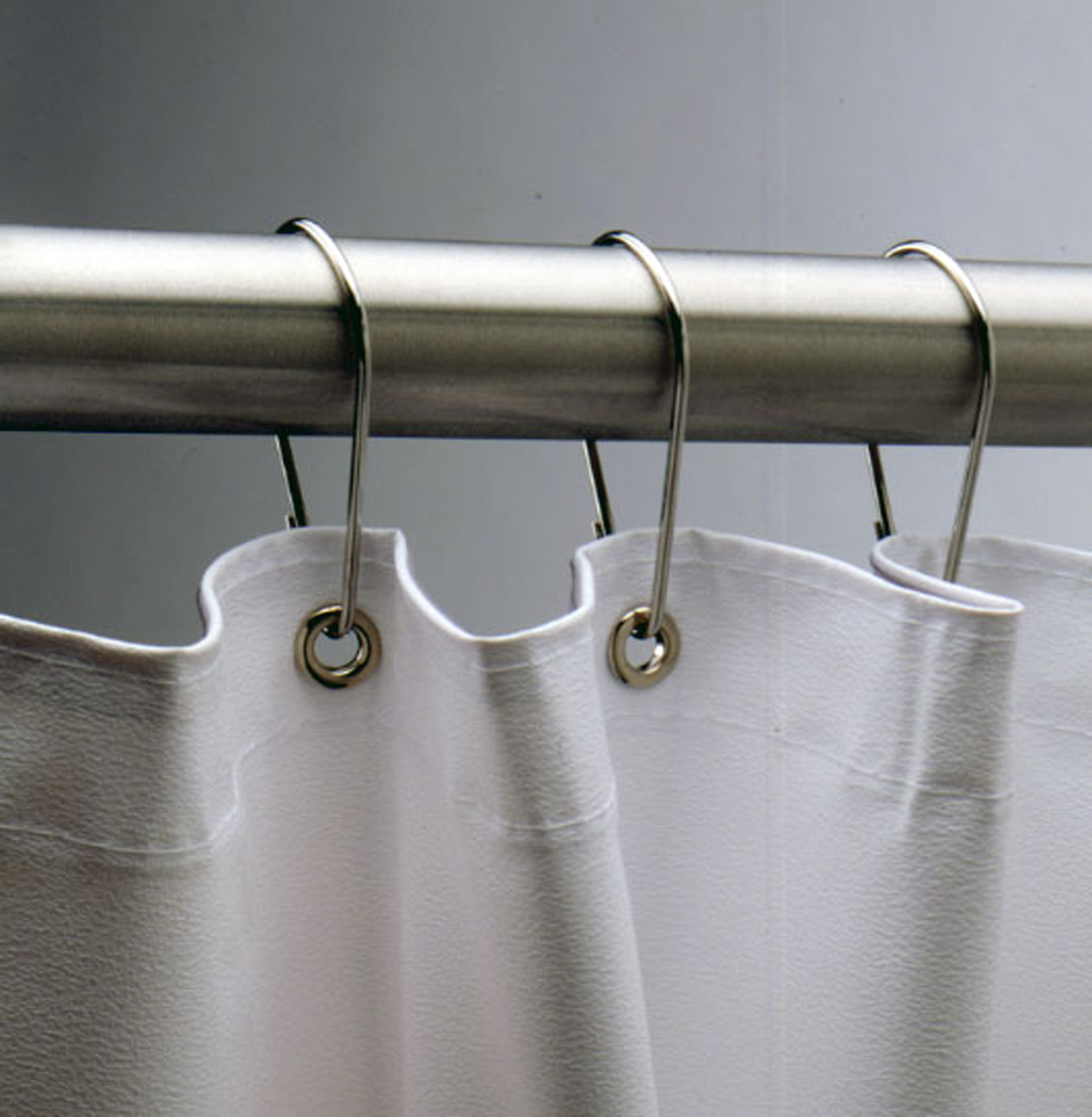 Simple Shower Curtain Hooks With White Curtains