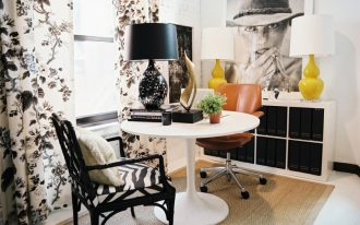 Simple White Ikea Tulip Table With Leather Chair And Zebra Patterned Chair Pretty Floral Curtains And Wooden Cabinet