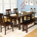 Simple Wooden Dinette Sets With Bench And White Rug
