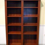Simple Wooden Target Book Cases With Dark Brown Varnishing