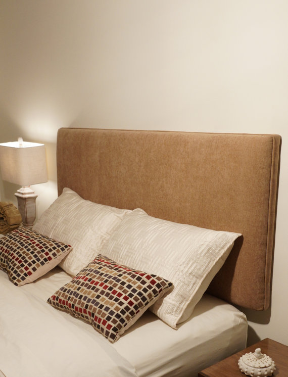 Simple Brown Wall Mount Headboard Idea