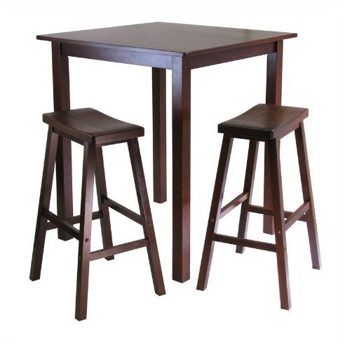 Simple counter height table IKEA with a pair of bar stools made of ...