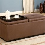 Simple tufted leathe Ottoman coffee table idea in brown