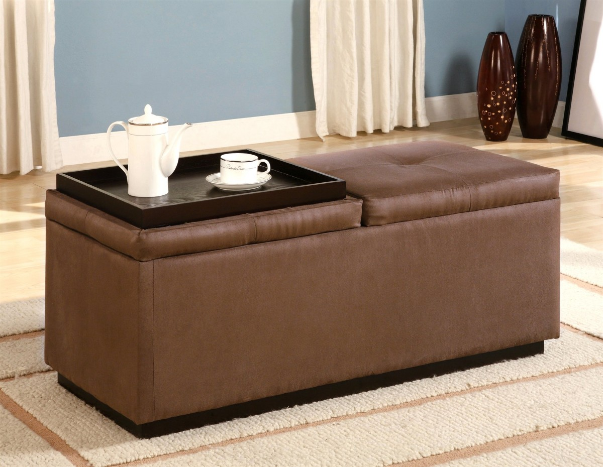 Superior Simple Tufted Leathe Ottoman Coffee Table Idea In Brown