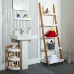 Simple Wood Ladder Shelf Idea For Bathroom A Free Standing Sink For Bathroom Small Rack Idea