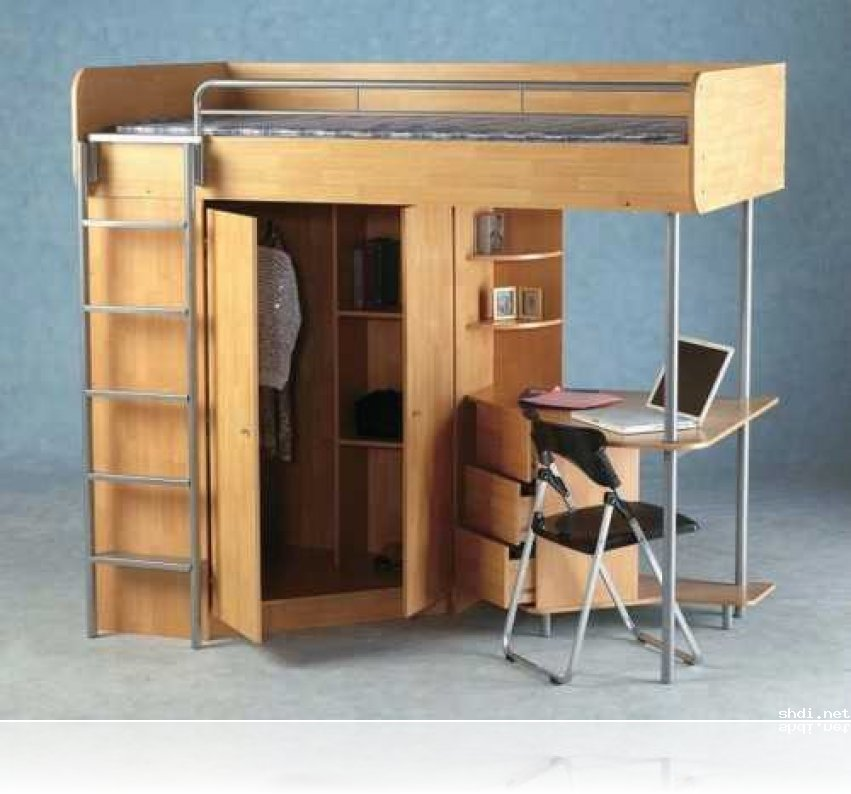 Full Size Loft Bed With Desk And Storage Small Wardrobe