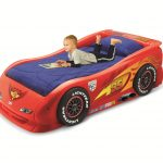 Small Red Race Car Beds For Toddlers With Blue Mattress