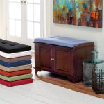 Small Wooden Bench With Colorful Bench Pads Indoor And Storage