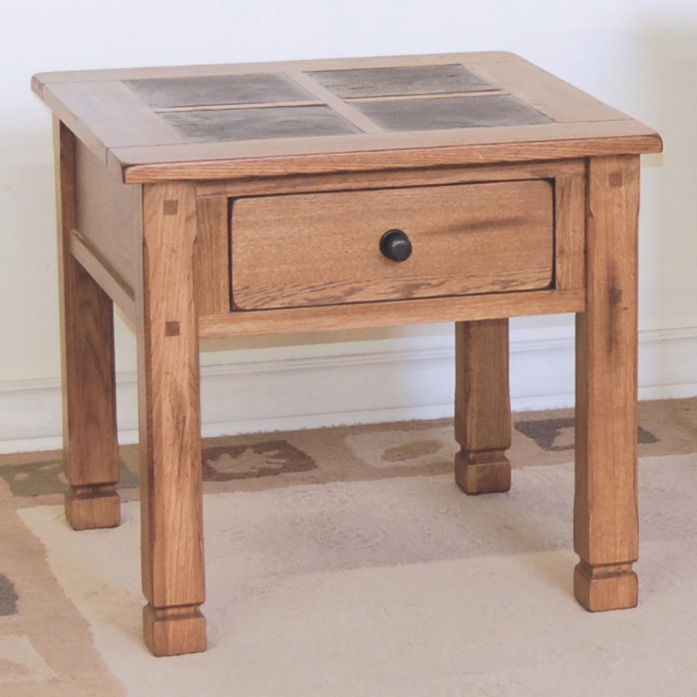 Perfect Small Wooden Slate End Tables With Drawer