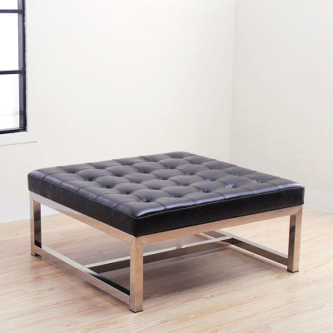 Small Black Tufted Leather Ottoman Table With Metal Base