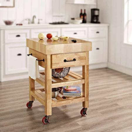 Get Practical and Movable Carts with Butcher Blocks on Wheels HomesFeed
