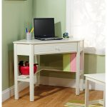 Small corner computer desk in white for computer