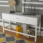 Small lacquer console table in white with single drawer