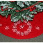 Snowflake Personalized Tree Skirts With Red Color