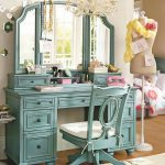 Soft turquoise makeup vanity chair with white cushion large turquoise bedroom vanity with large mirror