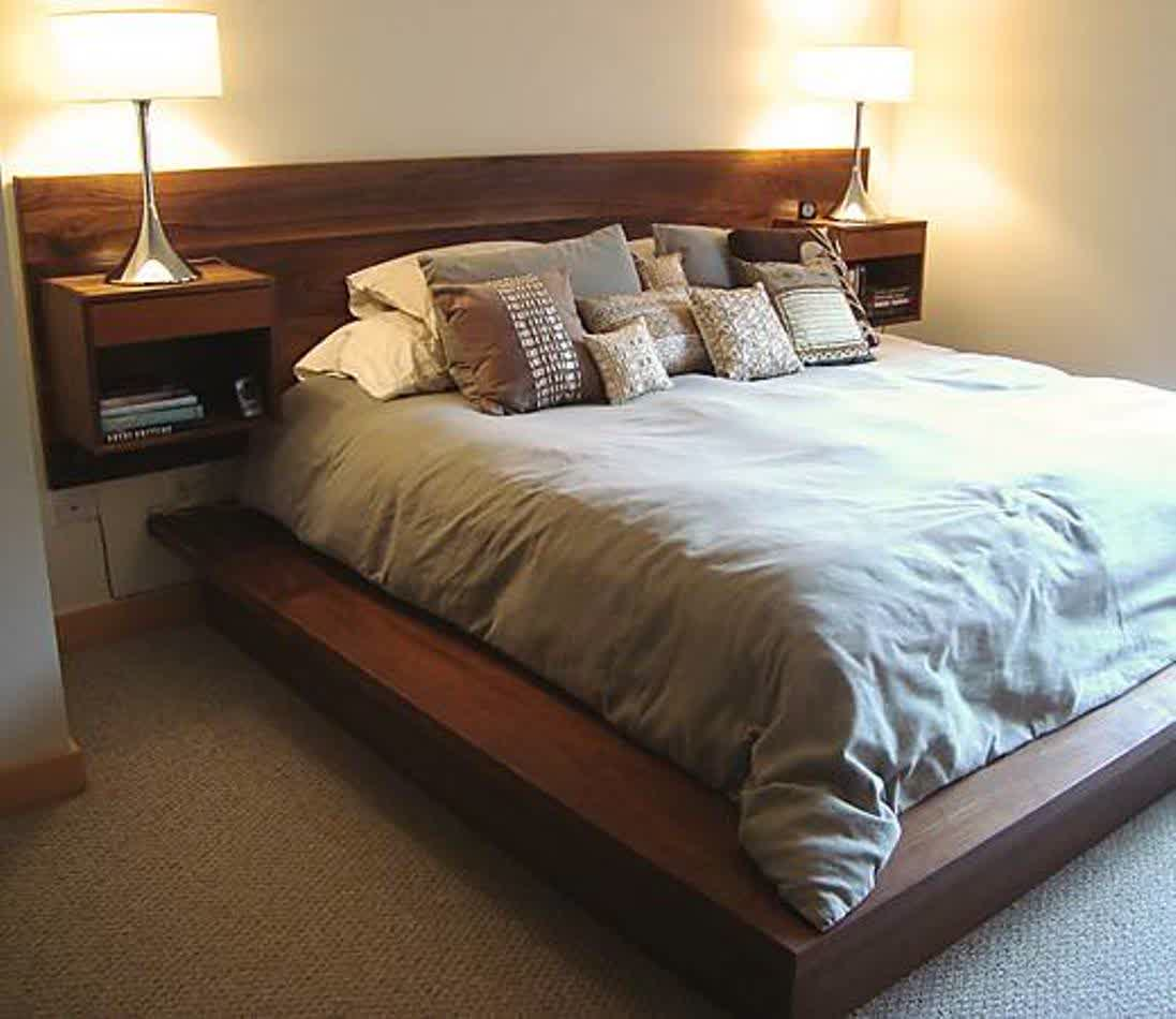 Attirant Http://homesfeed.com/wp Content/uploads/2016/01/Solid Wood Wall Mounted  Headboard Idea With A Pair Of Built In Bedside Table And Bookshelves