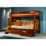 Sturdy Bunk Beds For Adults With Stripped Bedding And Drawers