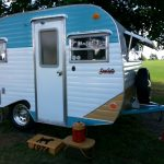 Stylish Small Travel Trailer Manufacturers WIth Turquoise And White Style