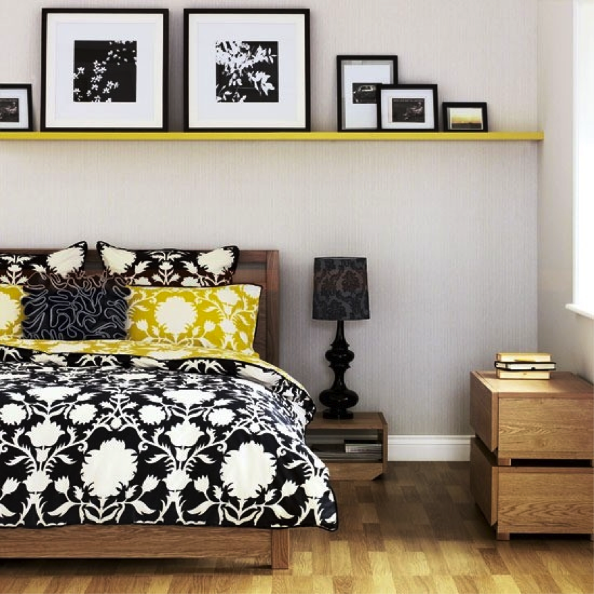 Sweet yellow shelf over bed in full length a wooden bed frame with headboard black and