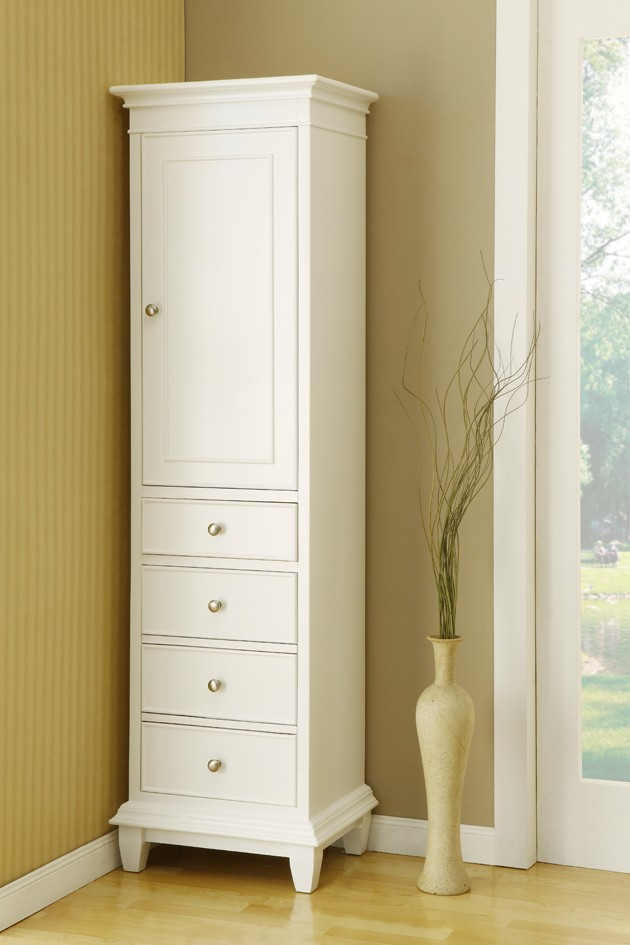 Exceptional Tall White Free Standing Linen Closet Wth Single Door And Four Drawers