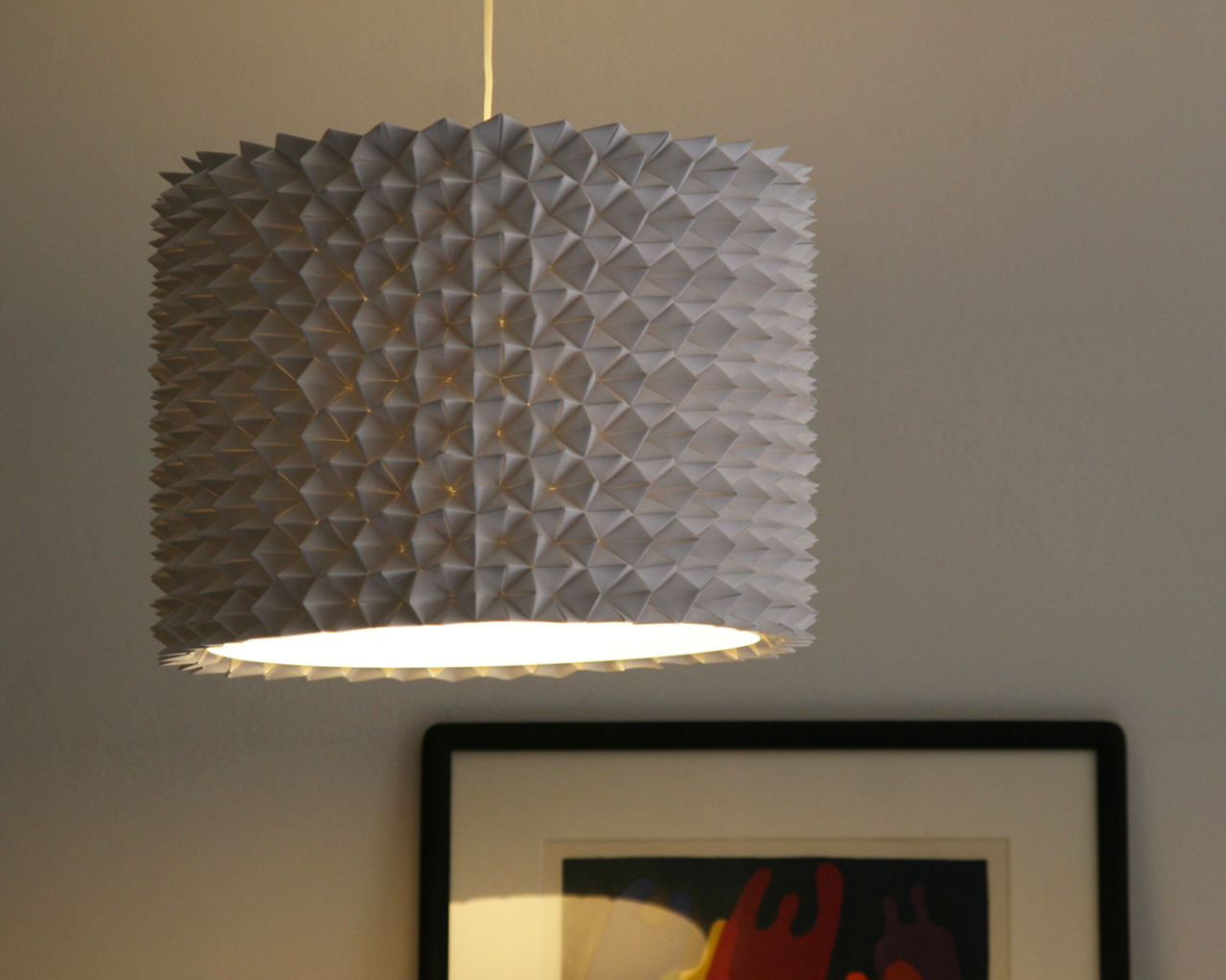 textured lampshade idea for a pendant lamp in grey. Black Bedroom Furniture Sets. Home Design Ideas