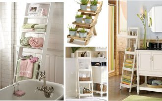 The series of wooden ladder rack in different sizes and finishings