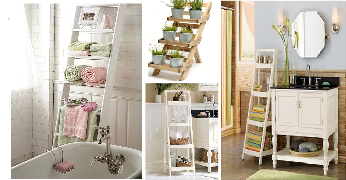 Cottage Bathroom Look Add This Bathroom Ladder Shelf