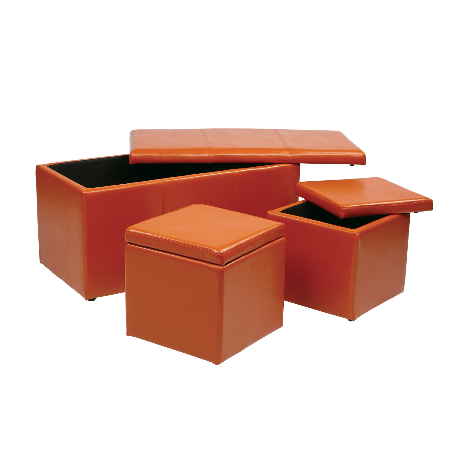 Orange Storage Ottoman Stylish And Functional Storage